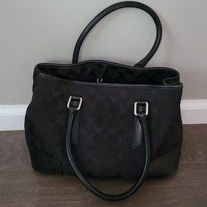 COACH Black Signature Handbag with Coin Bag